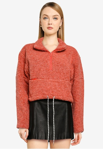 French Connection red Anahi Faux Fur Jacket 7D3DFAA6BD3A8FGS_1
