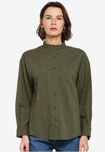 ZALIA BASICS green Mandarin Collar Shirt D16D0AA50CA48EGS_1