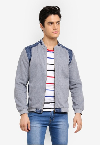 Fidelio grey Contrasted Denim Patch Jacket C24C5AAA992C67GS_1