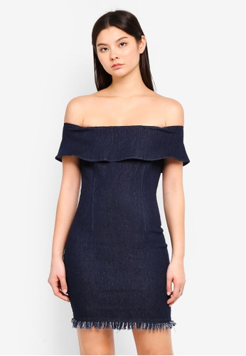 Something Borrowed navy Off Shoulder Fitted Dress 93395AAFDE0485GS_1