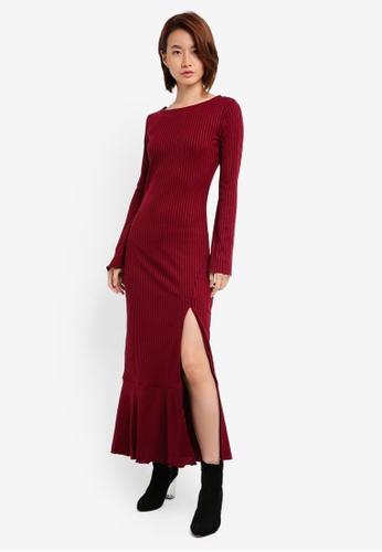 ZALORA red Flare Sleeve Rib Knit Maxi Dress 8FFEEAA2B81E2BGS_1