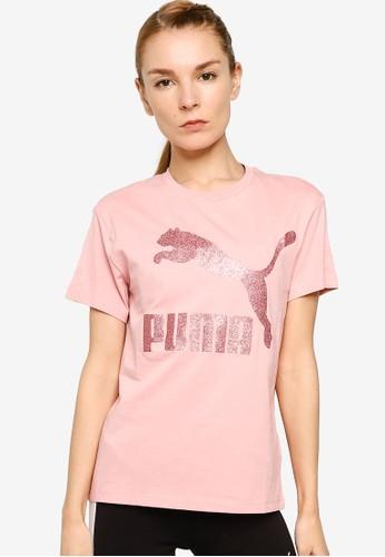 PUMA pink Classics Logo Tee B026DAAA721D5DGS_1