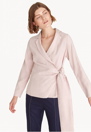 4192618a43dd07 Shop Pomelo Premium Long Sleeve Wrap Blouse - Light Pink Online on ZALORA  Philippines