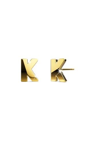 Bullion Gold gold BULLION GOLD Dainty Alphabet Letter Earring Gold Layered Steel Jewellery - K B98A5AC7E2C637GS_1