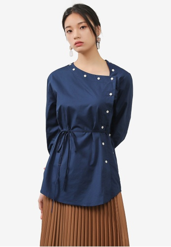 NAIN navy Asymmetric Button Blouse ED127AA8EB317AGS_1