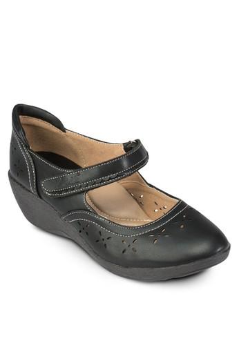 雕花魔術氈楔型跟鞋, 女鞋esprit門市, 鞋