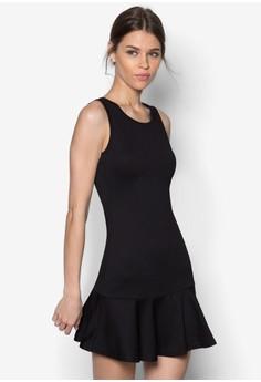 Textured Cut In Fluted Hem Dress