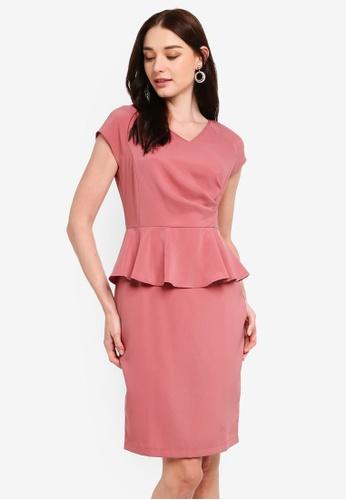 ZALORA pink V-Neck Peplum Dress 24B15AAABF174CGS_1