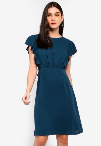ZALORA green Ruffles Dress 1ACB8AA6EB9A8AGS_1