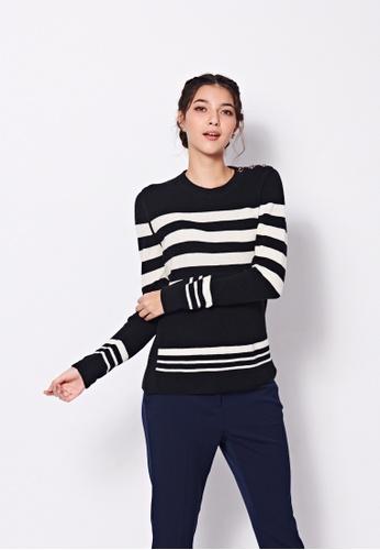 Sisley black Striped Sweater 36E58AA42C8D86GS_1