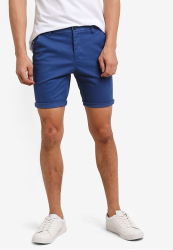 Topman blue Blue Stretch Skinny Chino Shorts TO413AA0RHN9MY_1