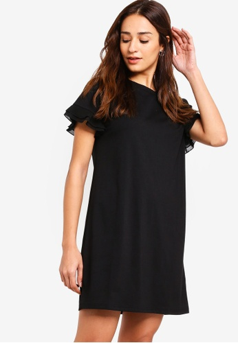 ZALORA black Ruffled Sleeves Shift Dress 512FEAA2C3C587GS_1