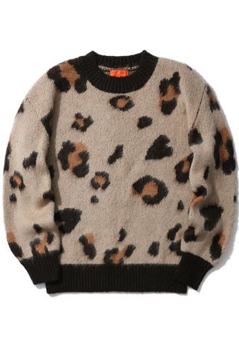tout à coup beige Leopard print knit sweater D3716AA5D89BC2GS_1