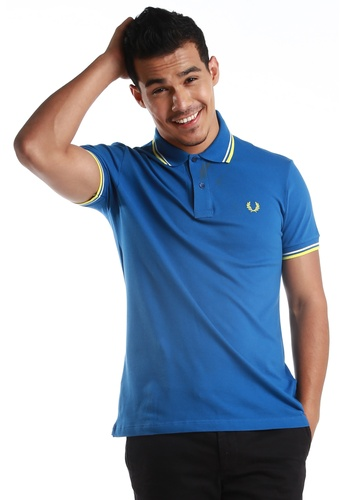 Fred Perry Green Label white and yellow and blue Twin Tipped Blue Polo Shirt FR595AA59WTCMY_1