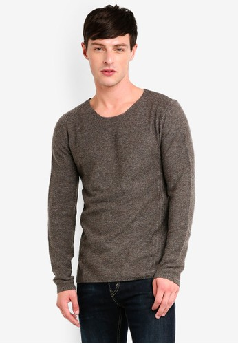 Jack & Jones grey Wool Blend Knitted Pullover 50EAEAA19F01BBGS_1
