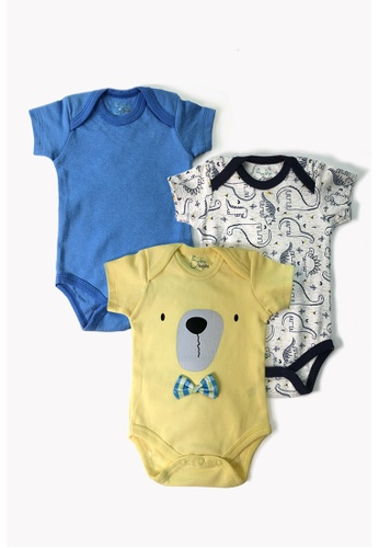 Baby 9months yellow and multi Newborn Baby Yellow Bow Romper Set (3pcs) 793C8KA09DA65EGS_1