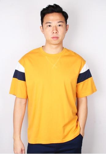 Moley yellow Colour Block Oversized T-Shirt 7E319AA17A4B6DGS_1