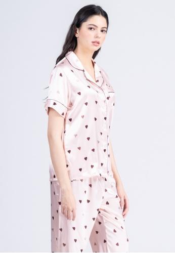 FEMINISM pink Silk Shortsleeve Pajama 3559AAA1E43F6CGS_1