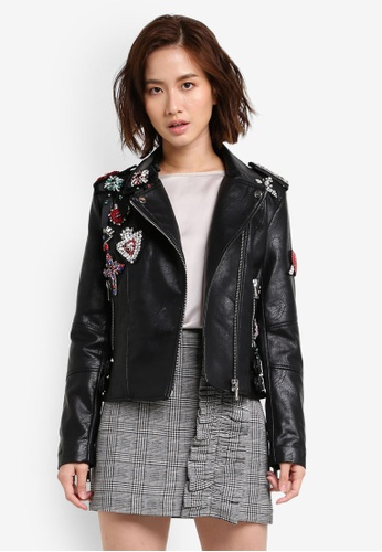 Mango black Applique Biker Jacket MA193AA0RIJBMY_1