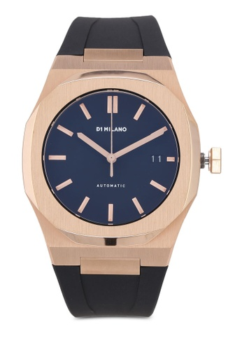 D1 Milano black and gold P701 Automatic Rose Gold Case Black Strap Watch 60897AC3F2A4BFGS_1