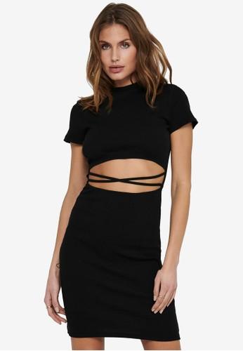 ONLY black Nessa Short Sleeve Cut-Out Dress 5EA38AACA08685GS_1