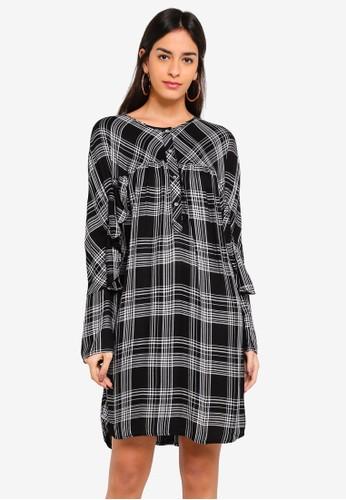 Max Studio black Rayon Plaid Ruffle Sleeve Dress 2479FAA827FB39GS_1