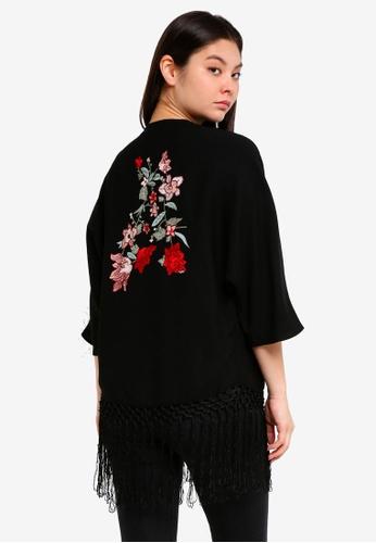 Dorothy Perkins black Black Embroidered Kimono E04D7AA8F3A75DGS_1