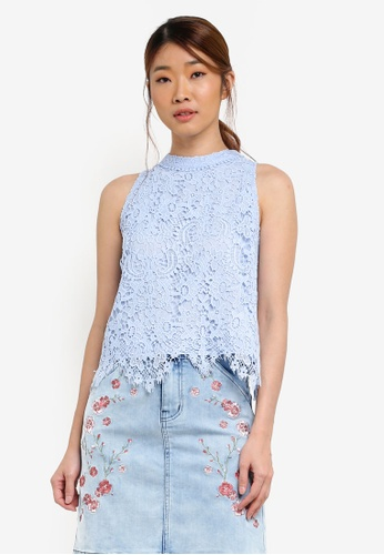 Something Borrowed blue Sleeveless Cut In Lace Top 32641AA3343112GS_1