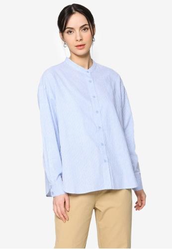 ZALIA BASICS blue Mandarin Collar Striped Shirt B5050AAA990447GS_1