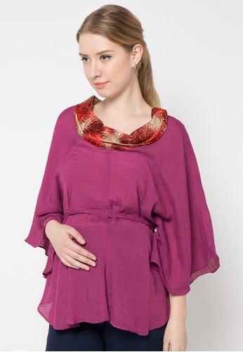 ELSY'S purple Blus Lengan Lebar Leher Tutup Kombinasi Batik Ada Ikat EL744AA76GFNID_1