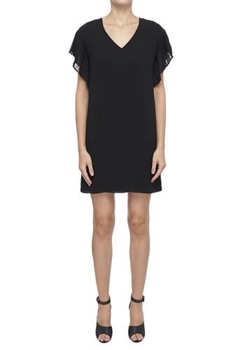 DKNY black DKNY Women V-Neck Dress With Ruffled Sleeves 68E72AA5FBA0F4GS_1