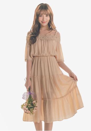 Yoco beige Lace Neck Cami Strap Dress 4FE6CAA73E5521GS_1