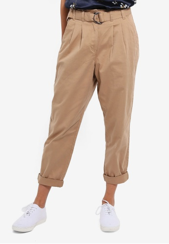 Cotton On brown Asha Belted Chino Pants BB914AA66E5BBAGS_1