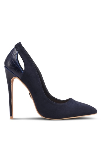 LOST INK navy Polly Textured Back Court Heels LO238SH0T1RCMY_1