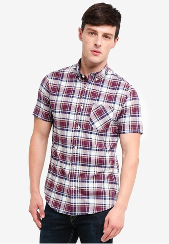 Burton Menswear London 紅色 Burgundy Short Sleeve Check Oxford Shirt 8A528AA46DF1D5GS_1