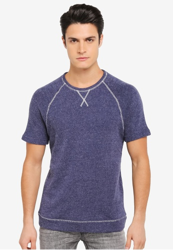 ZALORA navy Textured Knit Short Sleeve Sweatshirt 79DCAAAD7E2641GS_1