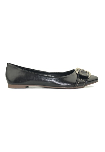 SHINE black Point Toe Buckle Flats SH554SH18YSBSG_1