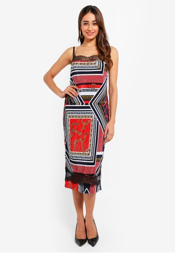 River Island red and multi Plisse Slip Dress 25C1CAA170D68AGS_1