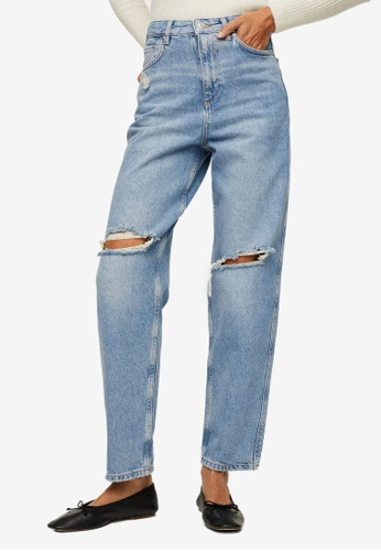 Mango blue High Waist Tapered Jeans ABE53AACAAA03BGS_1