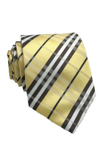 Splice Cufflinks blue Checkerboard Series Yellow Checked Design Polyester Tie SP744AC98ILDSG_1