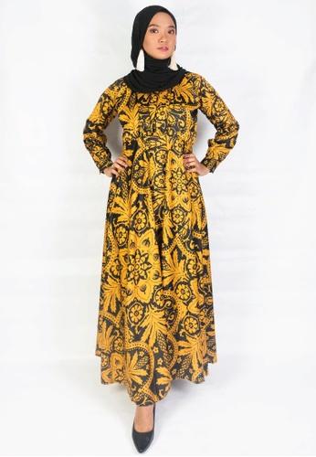 Zaryluq black and yellow Mehru Printed Wrap Dress 83C3EAA18F884BGS_1