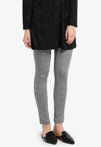 Zariya grey Checkered Print Long Pants 19BD7AA834D934GS_1