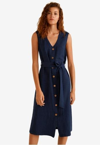 Mango blue and navy Textured Shift Dress B0960AA3F196BEGS_1
