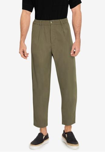 ZALORA BASICS green Pleated Front Trousers 0286FAAB386F24GS_1