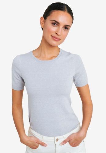FORCAST grey Bridget Short Sleeve Knit Top C4B72AA7BBE326GS_1