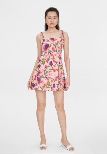 Pomelo pink Bold Floral Tied Strap Dress - Pink 1BA15AAD65F7AEGS_1