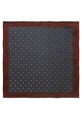 Red Stag And Hind red Red Stag And Hind Red and Blue Paisley Wool Pocket Square 5C00DACED8C2A1GS_1