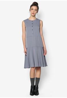 Bias Cut Pin Stripe Poly Dress