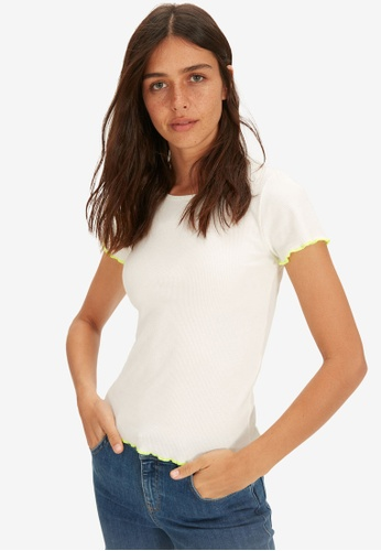 LC Waikiki white Ruffle Detailed Stretch T-Shirt 753D2AACB1C4ADGS_1