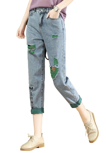 A-IN GIRLS green and blue Fashion Scratch Jeans AB6E9AAC58720CGS_1